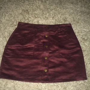 Maroon Suede Button Up Skirt